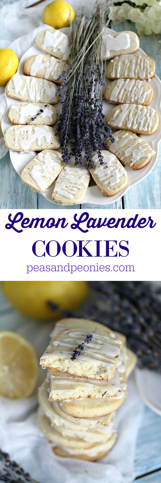 Shortbread Lemon Lavender Cookies melt in your mouth and are full of flavor. Topped with lemon icing for a beautiful and fresh finish. Peas and Peonies