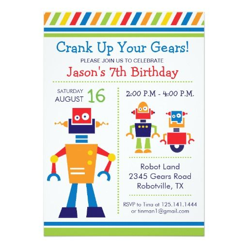 The 415 best robot birthday party invitations images on pinterest robot birthday party invitation filmwisefo