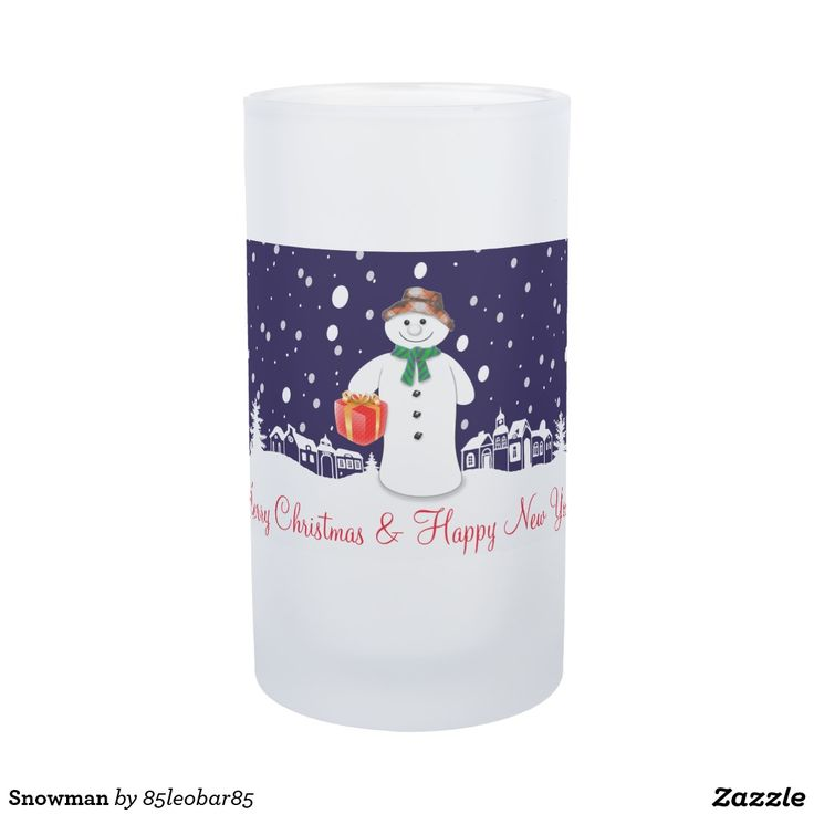 Snowman Frosted Glass Beer Mug