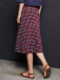 Pleated Printed Midi #Skirt