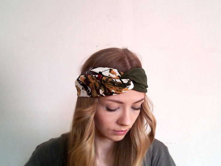 Turban headband - Green and white head wrap - Abstract print summer headband - Women and girl turban headband - Twisted headscarf by EVESAdesign on Etsy