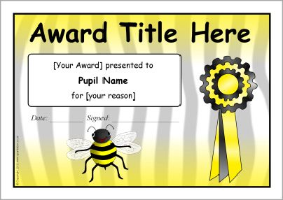 Best 25 bee certificate ideas on pinterest spelling bee editable bee themed certificate templates sb1968 sparklebox yadclub Images