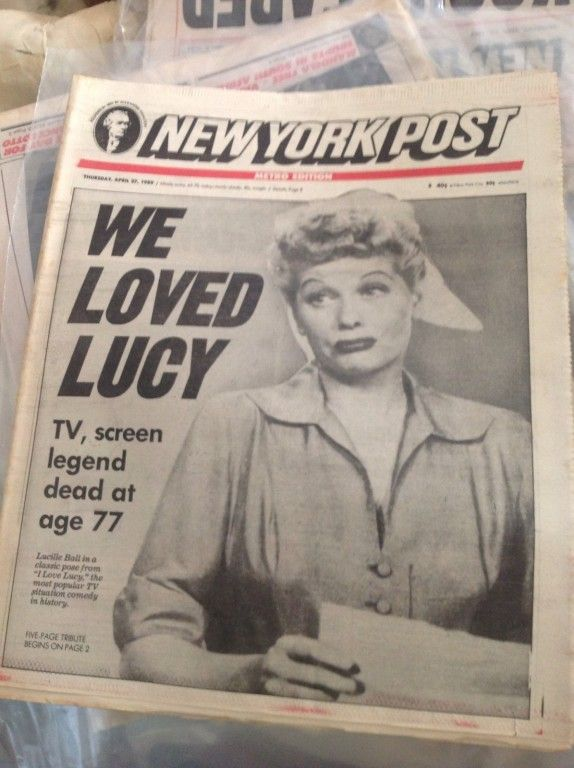 LUCILLE BALL DIES APRIL 1989 I LOVE LUCY OBITUARY 1950 's NEW YORK POST