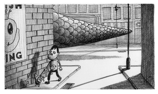 'The Walk Home'. Illustration by Chris Harrendence