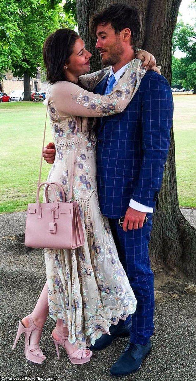 The look of love: Francesca Barham Packer gazes affectionately at her man Joshua Mullane, ...