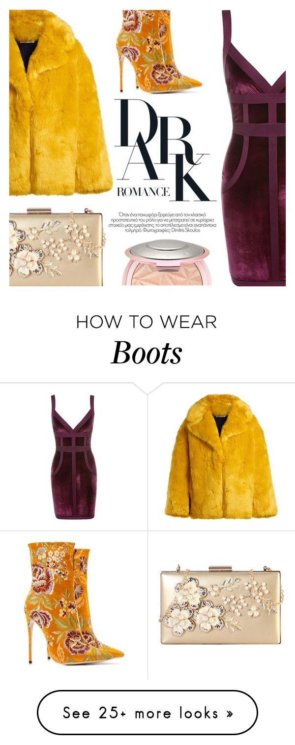 """""""#PolyPresents: Party Dresses"""" by simplynatonya on Polyvore featuring Diane Von Furstenberg, Rimen & Co., contestentry, velvetdress, fauxfurcoat, polyPresents and floralbooties"""