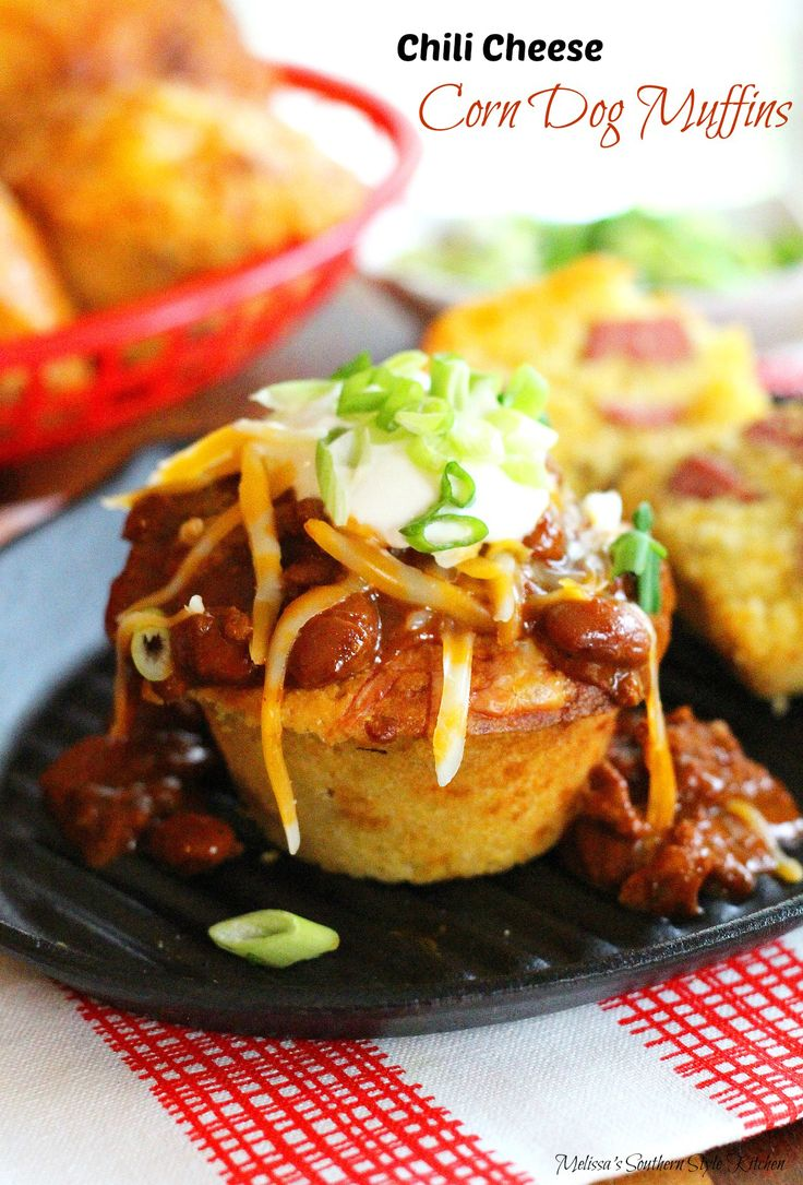 Chili Cheese Corn Dog Muffins - Do you love corn dogs but dislike the idea of frying them? I'm convinced that's why corn dogs are such a popular feature at street fairs and amusement parks nationwide.