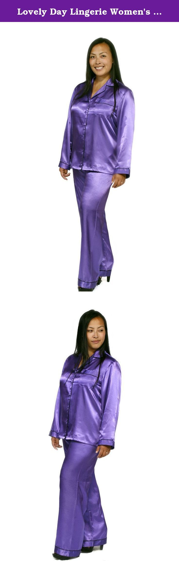 Lovely Day Lingerie Women's Satin Long Pant Pajama Set Purple Medium. Lovely Day Lingerie women's satin pajama set. Sleeping in comfort, lounging in luxury. Our lovely smooth satin pajama set will make any woman feel relaxed any night of the year. Available in two color ways, Purple with black trimming or Black with purple trimming. This lovely set feautres a button front closure with long sleeves and a front chest pocket with matching long pants.