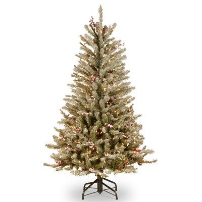 Darby Home Co Fir Slim 4.5' Hinged Artificial Christmas Tree with 350 Clear Lights