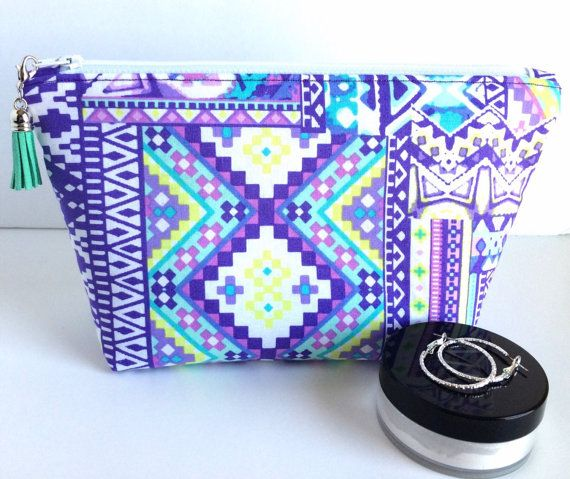 Large Cosmetic Bag,Purple Makeup Bag,Makeup Artist Bag,Purple Zipper Pouch,Large Makeup Bag,Large Art Bag,Large Pencil Bag