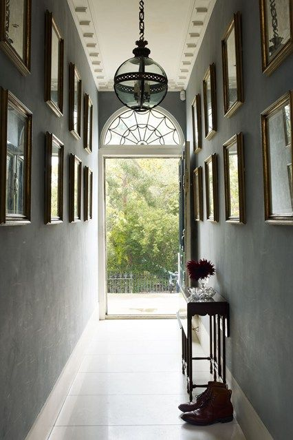 Charcoal Gallery Wall & Period Light - Hallway Design Ideas (houseandgarden.co.uk)