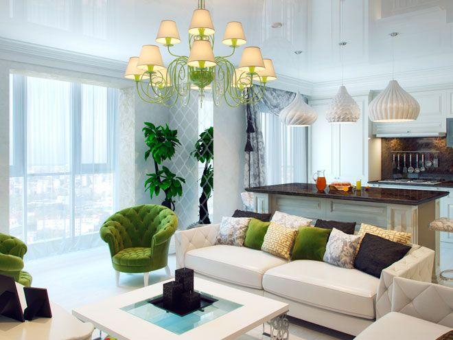 """Кухня-гостиная - Дизайн интерьера трехкомнатной квартиры в ЖК """"Новая Скандинавия"""""""