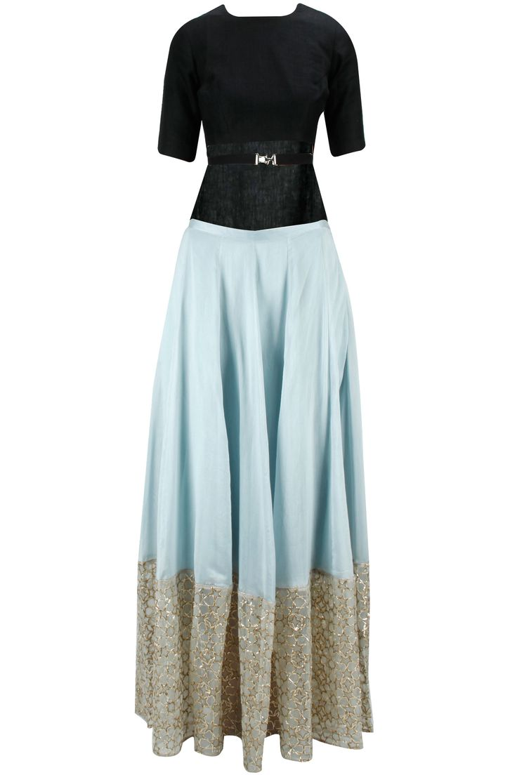 Black high low choli with pale blue star embroidered lehenga available only at Pernia's Pop-Up Shop.