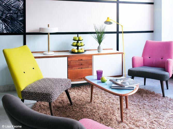 Un salon style années 50, c'est top tendance ! http://www.maison-deco.com
