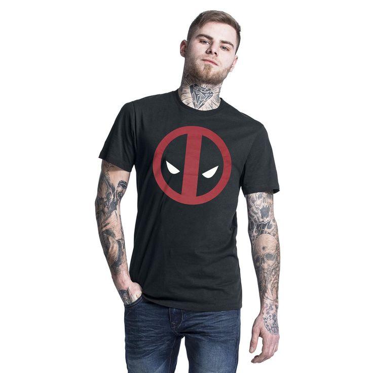 """Classica T-Shirt uomo nera """"Logo"""" di #Deadpool con scollo tondo e ampia stampa frontale."""