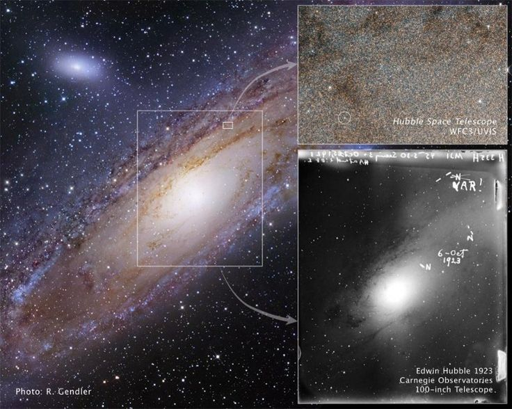 11 Scientific advances of the last 100 years gave us our entire Universe    Hubble's discovery of a Cepheid variable in Andromeda galaxy, M31, opened up the Universe to us. Image credit: E. Hubble, NASA, ESA, R. Gendler, Z. Levay and the Hubble Heritage Team. Image credit: E. Hubble, NASA, ESA, R. Gendler, Z. Levay and the Hubble Heritage Team.