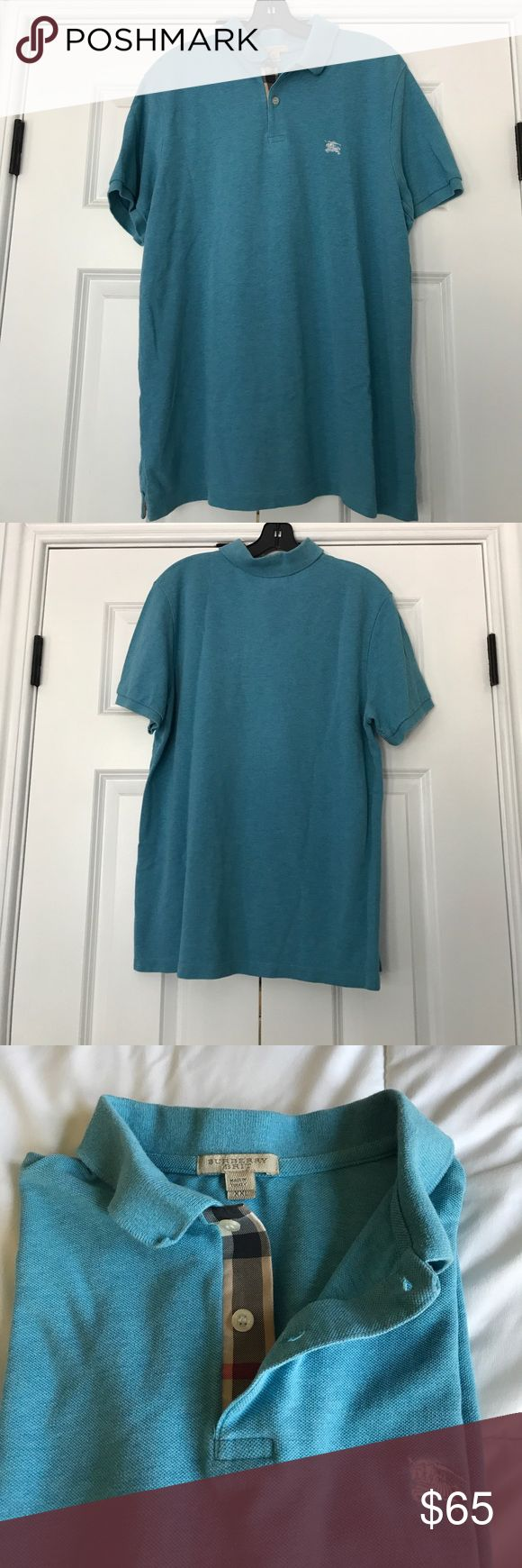 """BURBERRY CHECK PLACKETT COTTON PIQUE POLO SHIRT This beautiful light blue (almost Tiffany blue) polo is such a great staple. The has burberrycheck details on collar and side tails. The polo is not brand new but has not tears, nicks, or holes. It really has only been worn a handful of time, washed and shrunk. FACT: yes, Size says XXL, but its measures XL do to laundromat. Priced a little low for this reason. 🚫 trades 💰 offer button Measurements  across  CHEST:20"""" Waist:22"""" Collar to…"""
