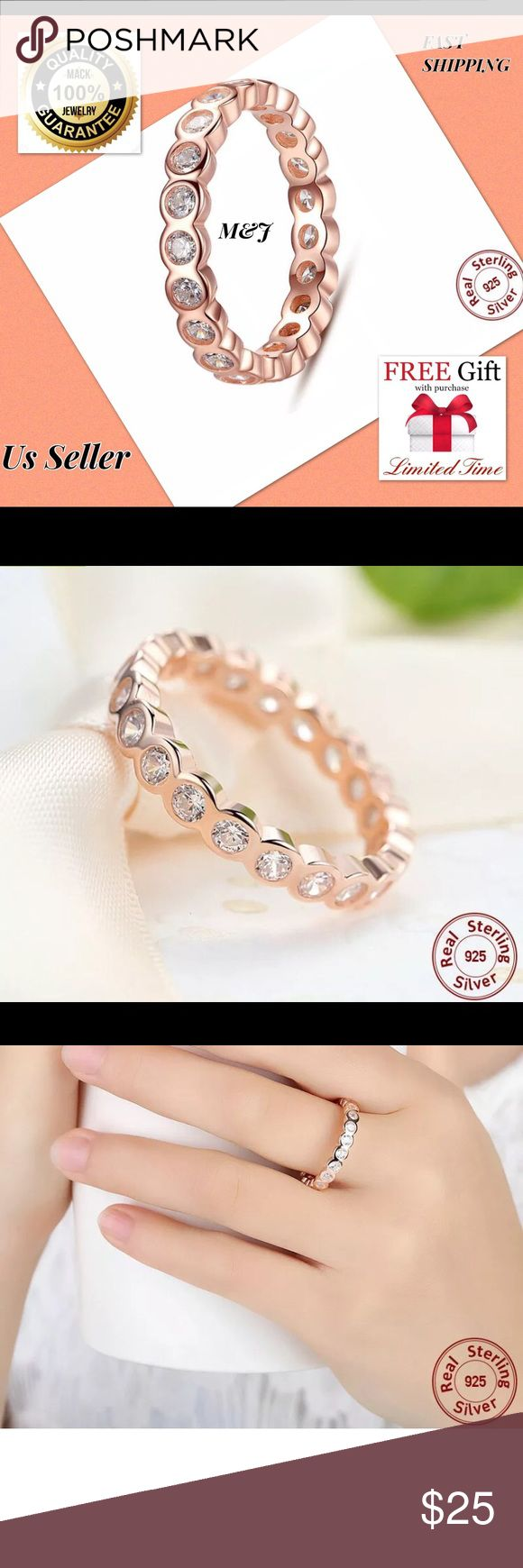 Rose gold925 sterling fashion love band  ring Feature 100% Brand New Material: 925 Silver AAA Zircon Crystal  Size: 7 Wearing Occasion: Wedding/ Engagement/ Anniversary/ Propose/ Party/ Gift Gift for: Girl friend/ Wife/ Mother/ Friends/Sister  We are the new seller but best seller. Now we have a limited time big promotion.  You can use or give gift your mom, dad, friend, sister... When you buy this item Nano technolog Microfiber claening Cloth $19.99 value is free for you! Jewelry Rings