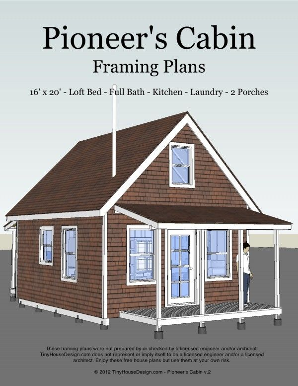 Small Cabin Plan Build Yourself Small Cabin Building Plans: Pioneer's Cabin (v.2) 16′x20′ Living Room, Kitchen