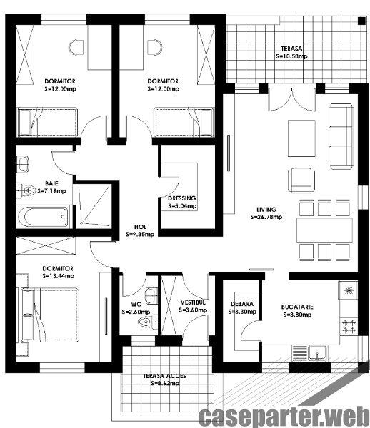 Proiecte de case fara etaj cu 3 dormitoare casa i for Modele case