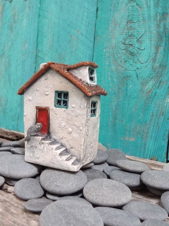Miniature House With Cat Ooak Ceramic Porcelain Sculpture