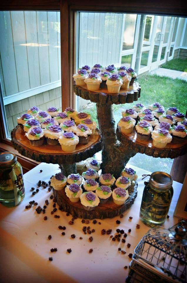 wedding cup cake stands wood log custom rustic cupcake stand by ruffsrustic on 8965