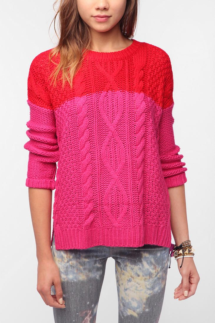 This is just screaming out for me to buy! Must be a Coincidence & Chance... Colorblock Cable Pullover Sweater