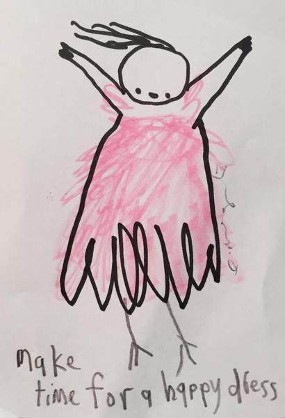 """Make Time For A Happy Dress' Emma Magenta    #art #drawing #illustration"