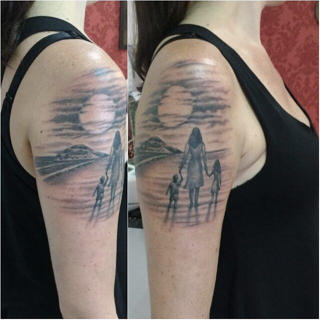 Mother And Children Tattoo