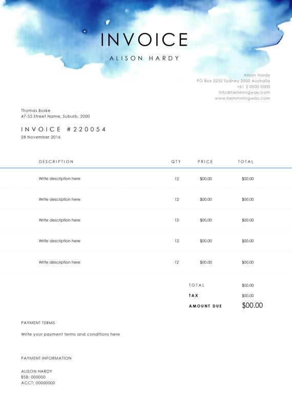 Organise your charges with our professional and modern invoice design. This template allows you to clearly itemize your charges and outline payment terms and methods. It is simple to use and is customisable with full control over fonts, easy to change wording and to add a logo. This