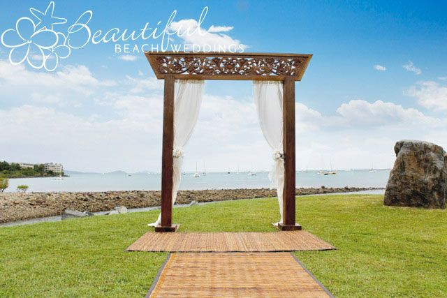 Our beautiful hand carved wedding alter, released December 2011 as part of our 2012 luxury wedding collection. This photograph is taken in Airlie Beach, Qld