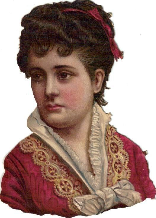 Victorian Die Cut Scrap Lovely Lady in Red w Lace Trim c1880