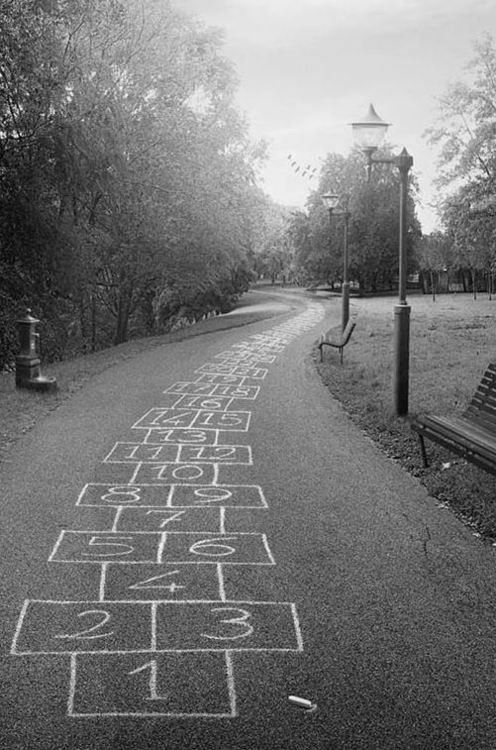 hopscotch through the park - that would be a great way to teach kids how to count to 100! :D
