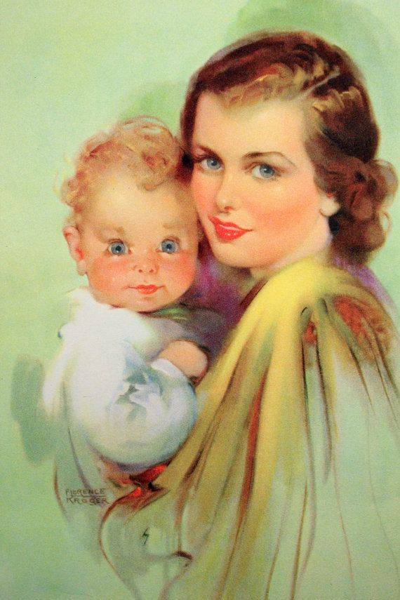 Calendar Illustration Ideas : Vintage calendar art print mother baby by