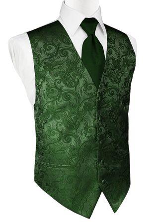 Hunter Green Tapestry Satin Tuxedo Vest [TAHUNV] - $89.00 : EZ Tuxedo!, Buy Tuxedos Online & Save