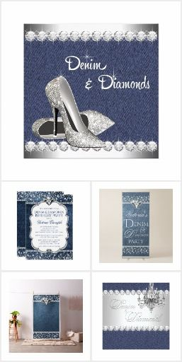 Womans Birthday Party Invitations | Denim And Diamonds Denim And Diamond  Birthday Party And Event Designs