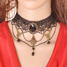 Venta al por mayor envío gratuito Vintage hechos a mano Retro corto Gothic estilo punky elegante de calidad superior del cordón de la joyería collar de gargantilla(China (Mainland))