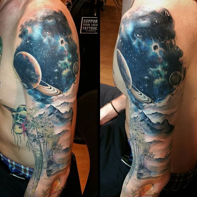 Sleeve in progress.  Worked on the space/sky portion today @goldstripetattoo @trainwreckpoledancer #gtg #Genghisthegreat #Tattoo #tattoos #tattooed #blackandgray #blackandgrey #blackandgraytattoo #blackandgreytattoo #NorthPark #northparktattooer #sandiego #sandiegotattoo #sandiegotattoos #sandiegotattooartist #tattooart #tattooartist #tattooart #tattoolife #tattoodesign #tattooist #goldstripetattoo #tattooink #tattooing #inked #cityheights #normalheights #hillcrest #kensington