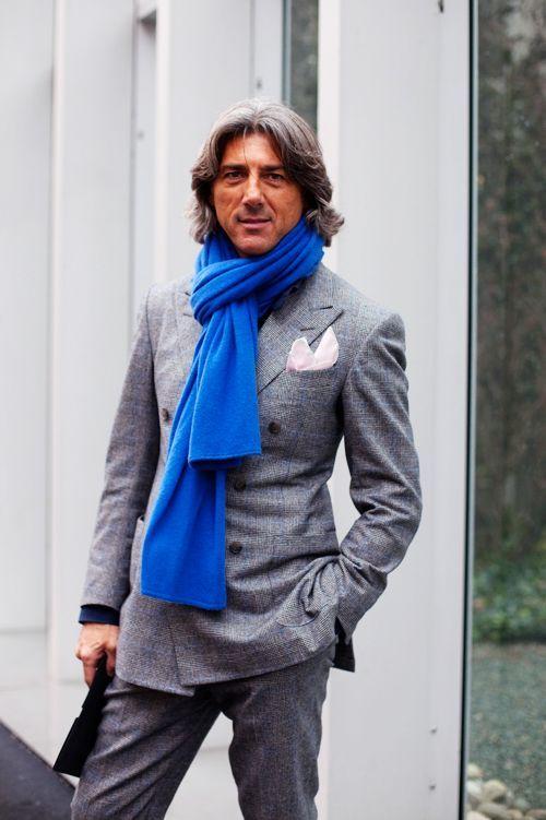 ダブルスーツ着こなしグレーのOn the Street……Grey & Blue, Milano « The Sartorialist