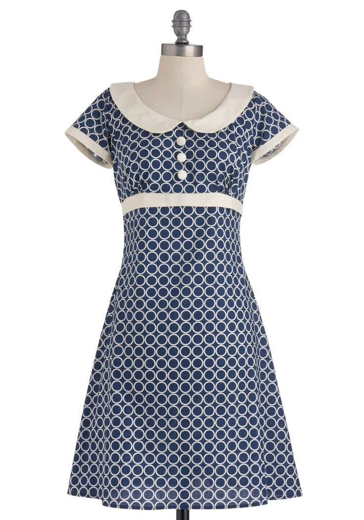 Very sweet and retro!!!  From Mod Cloth. ** Encircled in Sweetness Dress - Mid-length, Blue and white print Peter Pan collar A-line.