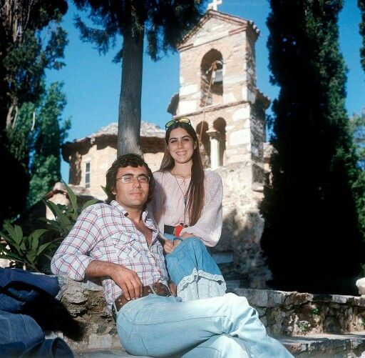 1975 ~ Al Bano and Romina Power visiting the monastery of Kessariani (Athens)