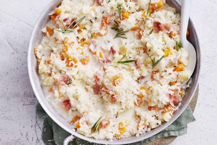 Voordelig, Italiaans gekruid eenpansgerecht met parmaham en romige risotto - Recept - Allerhande
