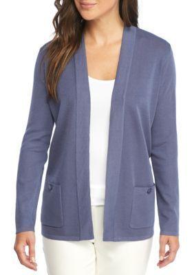 Anne Klein Women's Open Front Cardigan Sweater - Eton Blue - Xs