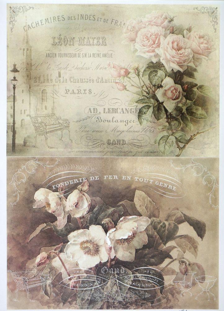 A/4 Classic Decoupage Paper Scrapbook Sheet Vintage Flowers