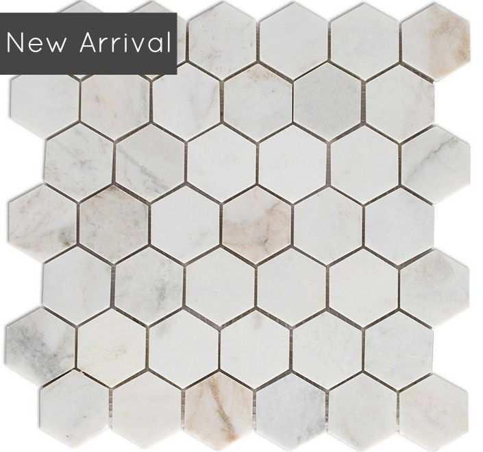 2 inch sienna gold marble hexagon mosaic polished finish 975 sqft