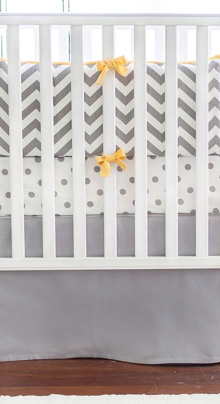 Gray and Yellow Chevron Crib Bedding, Chevron Crib Bedding