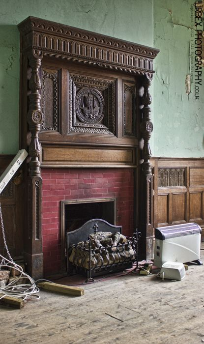 The Sparrow Mansion - October 2012 - Derelict Places (oh I do hope someone rescues that mantle! How could anyone leave something that beautiful to waste away)