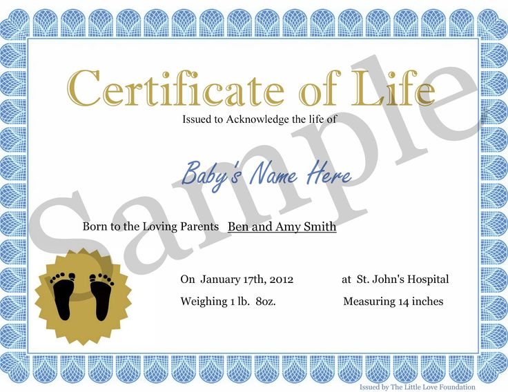 Certificate of Life, offered for families who lost a baby to early to be issued a birth certificate (Miscarriage, stillbirth, baby loss)
