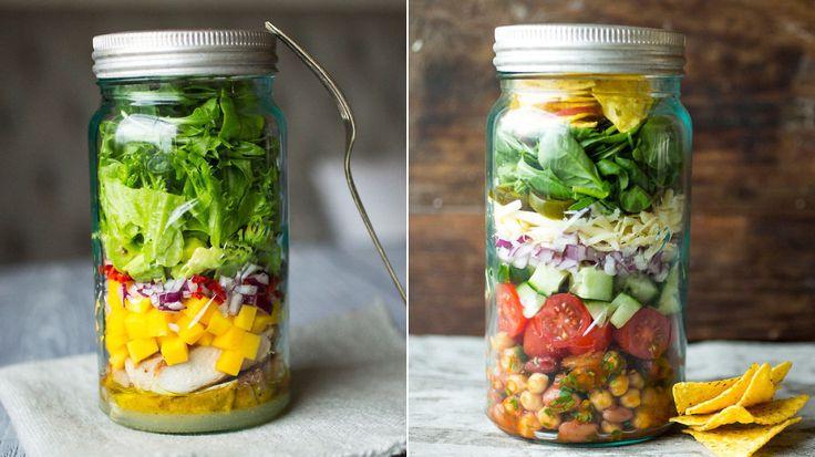 Unngå vassen salat til lunsj - lag salat på glass