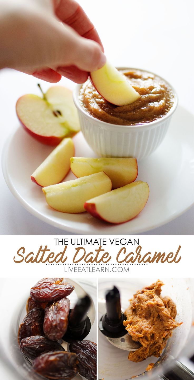 This dreamy Coconut Salted Date Caramel recipe is a healthy, dairy-free, vegan caramel sauce that has just 4 ingredients and can be made in minutes! It's packed with creamy flavor and is perfect as a sugar-free fruit dip or in vegan/vegetarian desserts (like apple pie, dessert bars, or cake!). // Live Eat Learn